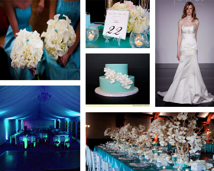 From vibrant Tiffany blue bridesmaid dresses linens and uplighting to white