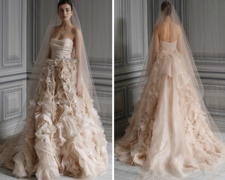 Monique Lhuillier Blush Wedding Gown